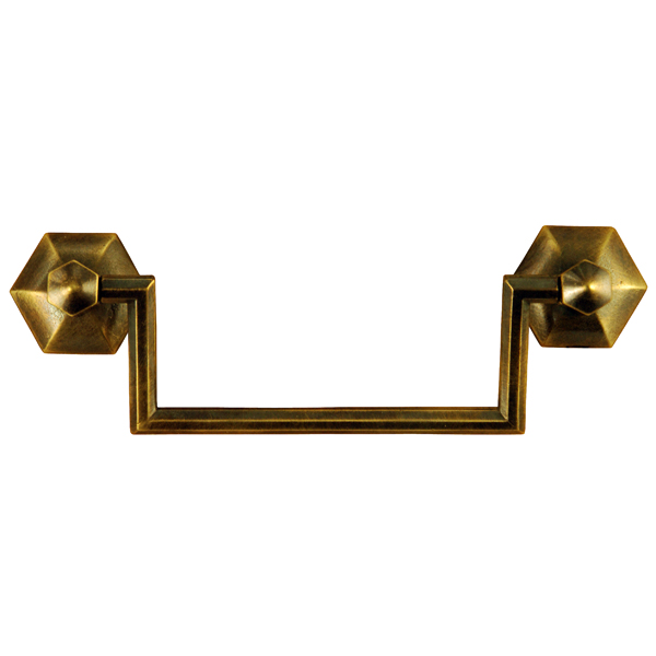 Brass Bail Pull with Rosettes